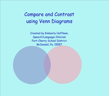 Venn Diagrams for Compare/Contrast