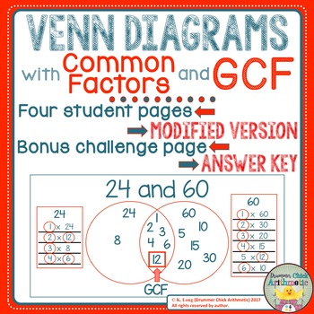 Venn Diagrams With Common Factors And Gcf By Drummer Chick Arithmetic