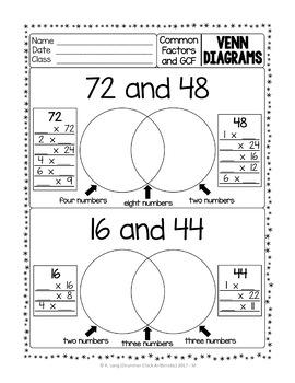 Venn Diagrams with Common Factors and GCF