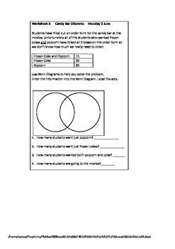 Venn Diagrams worksheet - Candy Bar dilemna