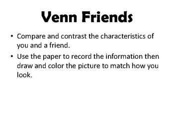 Venn Friends - Center, Literacy Activity, Art, Reading - Compare & Contrast
