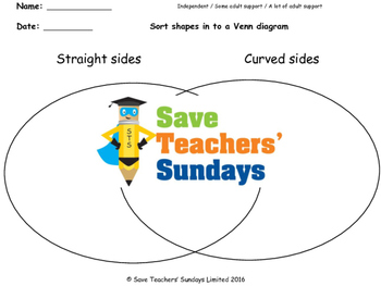 Venn diagrams worksheets (types of lines)  (3 levels of di