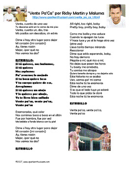 Vente Pa' Ca Song Lyrics & Activities about Ricky Martin in Spanish - Musica