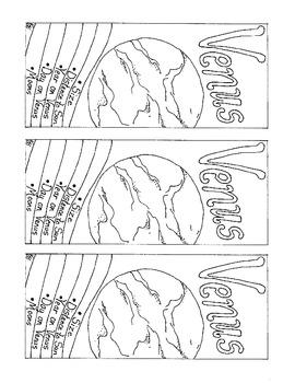 Venus Bookmark Solar System PDF Printable Coloring Page