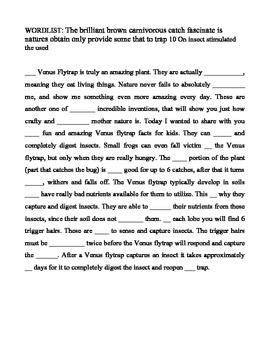 Venus Fly Trap Cloze Paragraph