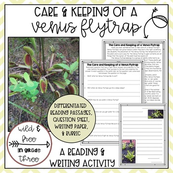 Venus Flytrap Performance Task - Right There Questions and Letter Writing