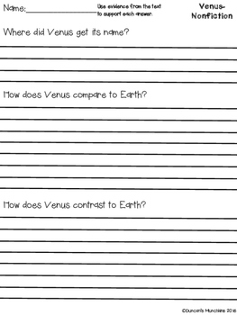 Venus Paired Passages with Text Based Evidence Questions
