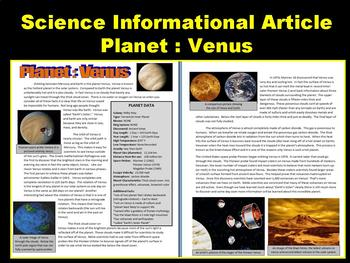 Venus (Space and Planets Article with Question Sheet and Puzzles)