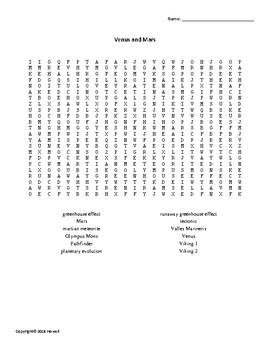 Venus and Mars Vocabulary Word Search for Astronomy Students