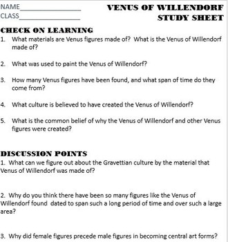 Stone Age Art: Venus of Willendorf Info Sheet/Worksheet