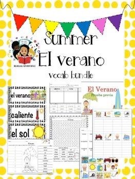 Summer/El Verano Vocab Bundle/Centers-Spanish
