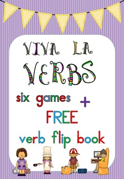 Verbs - 6 games + FREE verb flip book