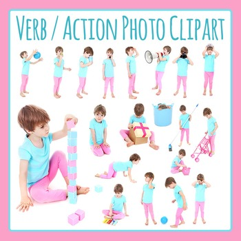 Verb / Actions Photo Clip Art - Little Girl - Commercial Use