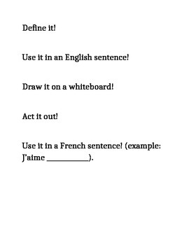 Verb Activity Choices for French or Spanish Beginners