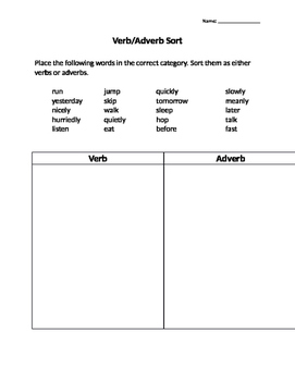 Verb/Adverb Sort and Formative