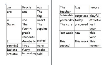 "Verb ""Be"" Sentence Sorting Activity"
