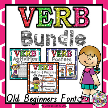 Verb Bundle QLD Beginners Font: Worksheets, Posters, and Activities