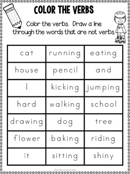 Verb Bundle: Worksheets, Posters, and Activities
