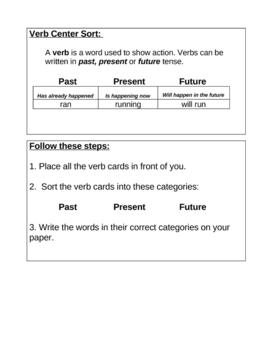Verb Center Sort: Past, Present & Future Tenses
