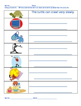 Verb Centers---2 activities per level