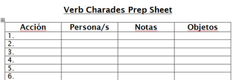 Verb Charades Activity Packet - Spanish