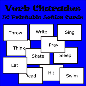 image relating to Printable Charades Cards called Verb Charades Card Recreation