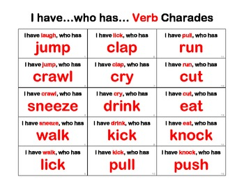 Verb Charades ~ I have, Who has