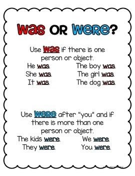 Verb Choice - Was and Were