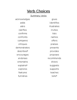 Verb Choices