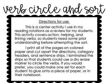 Verb Circle and Sort