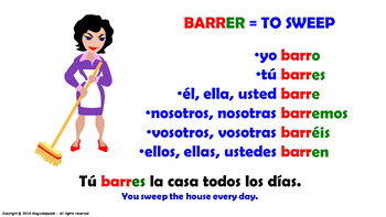 """Verb Conjugation -Present Tense. / 12 Regular Verbs Ending in –""""ER"""" (PPT #11)"""