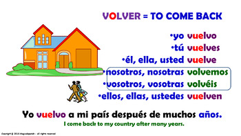 "Verb Conjugation –Present Tense/12 Stem-Changing Verbs -""O-UE"". (PPT #23)"