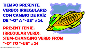 "Verb Conjugation –Present Tense/12 Stem-Changing Verbs -""O-UE"" (PPT #24)"