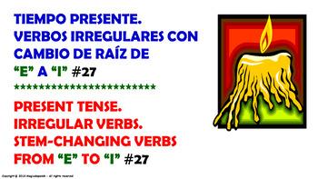 "Verb Conjugation –Present Tense/12 Stem-Changing Verbs (""E"