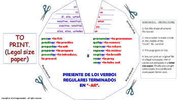 "Verb Conjugation -Present Tense / 12 Regular Verbs Ending in –""AR"" (PPT #8)"