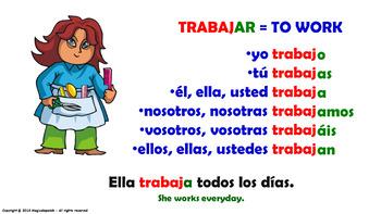 "Verb Conjugation -Present Tense / 12 Regular Verbs Ending in –""AR"" (PPT #9)"