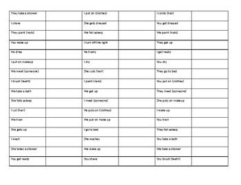 Verb Conjugation Drill - English Reflexives
