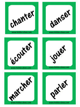 """-ER Verbs (French) """"Learning cube Inserts"""""""