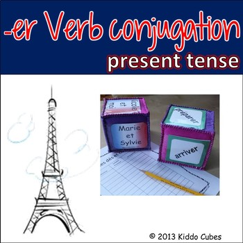 """Verb Conjugation -ER Verbs (French) """"Learning cube Inserts"""""""