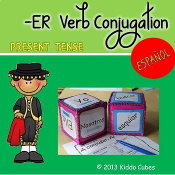 """Verb Conjugation -ER Verbs """"Learning Cube Inserts"""""""