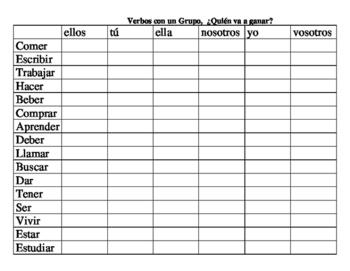 Verb Conjugation Group Game