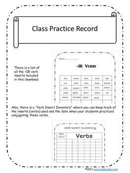 """Verb Conjugation -IR Verbs """"Learning Cube Inserts"""""""