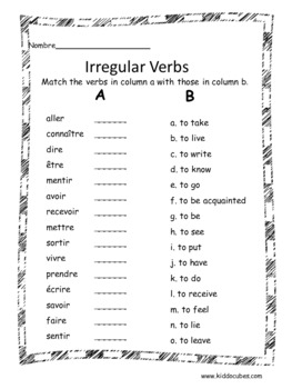 """Verb Conjugation -Irregular Verbs (French) """"Learning cube Inserts"""""""