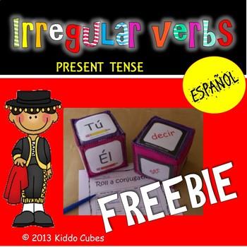 "Verb Conjugation Irregular verbs  ""Learning Cube Inserts"""