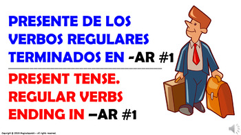 "Verb Conjugation -Present Tense/12 Regular Verbs Ending in –""AR"" (PPT #1)"