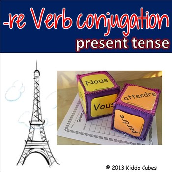 "Verb Conjugation -RE Verbs (French) ""Learning cube Inserts"""