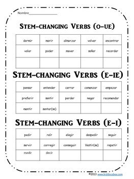 """Verb Conjugation Stem-Changing  Verbs  """"Learning Cube Inserts"""""""