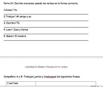 Verb Conjugations ar/er/ir Communicative and Written partner practice activity