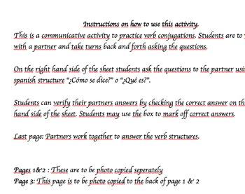 Verb Conjugations ar/er/ir Communicative and Written partn