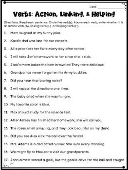 Verbs Craftivity: Action Verbs, Linking Verbs, and Helping Verbs ...